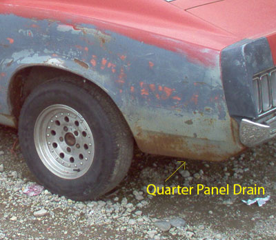 Quarter Panel Drain Plug Location