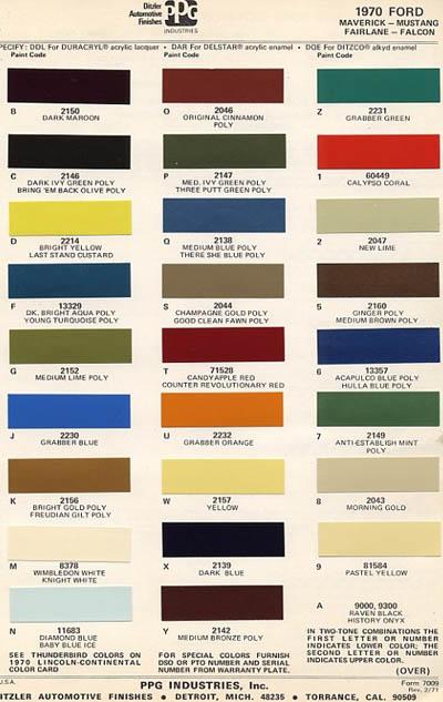 1970 mustang paint codes