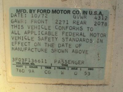 1973 Mustang VIN Code Data