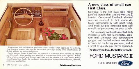 Mustang 11 interior 1974