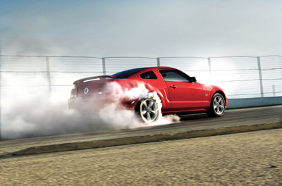 2009 Ford Mustang burnout