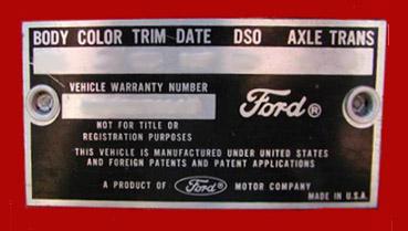 1965 mustang data plate