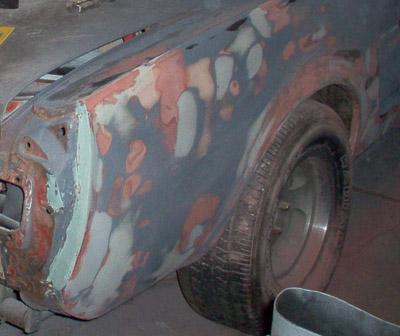 1965 mustang quarter panel sanded