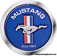 blue mustang logo sign