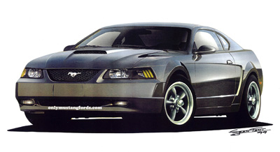 Ford Mustang bullitt concept car drawing