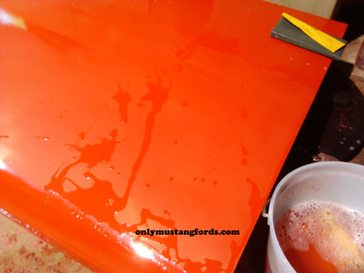 color sanding paint on a Ford Mustang