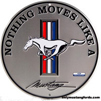 silver metal mustang sign
