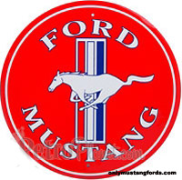 red mustang logo tin sign
