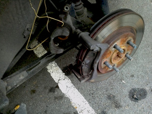 rear pads installed on mustang caliper