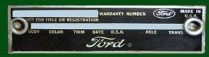 1966 mustang data plate