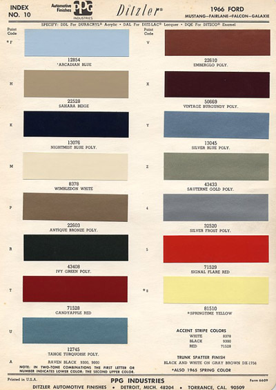 1966 mustang colors by paint code