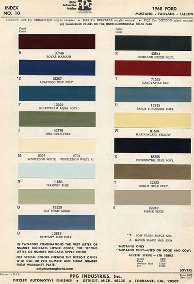 1968 mustang paint colors