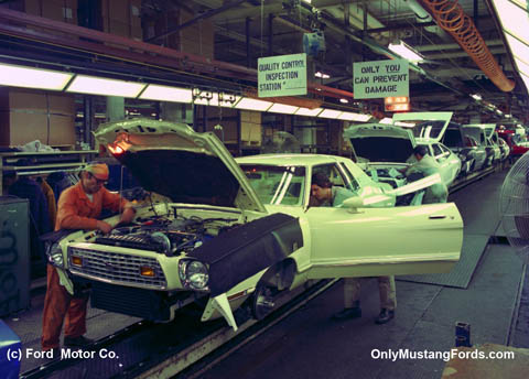 1975 ford mustang on manufacturing line