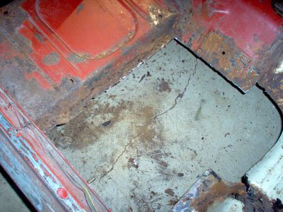 cut out floor section rust removed