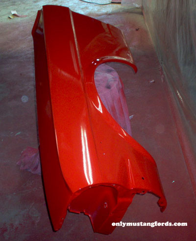 mustang fender painted in single stage urethane