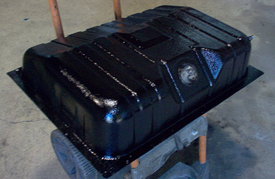 restored ford mustang gas tank