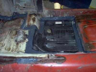 seam sealer on welded floor pan joints